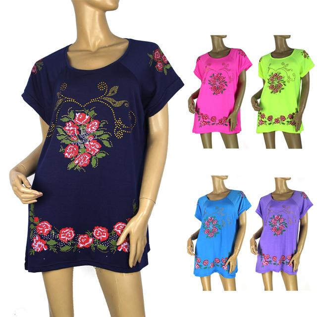 BFDADI 2016 FLOR Impreso Loose Women T-shirt de Moda Tops de Gran Tamaño 2XL-4XL Estilo Largo Señora Casual Tees Envío Gratis 1602