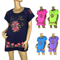 BFDADI 2016 FLOR Impresso Mulheres Soltas T-shirt Da Moda Tops Grande Tamanho 2XL-4XL Longo Estilo Lady Casual Tees Frete Grátis 1602