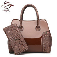 Luxury High Quality Patent Leather Women Handbag 2 Sets Ladies Composite   Bags   Fashion Messenger   Bags   Ladies Wallet Shoulder   Bag