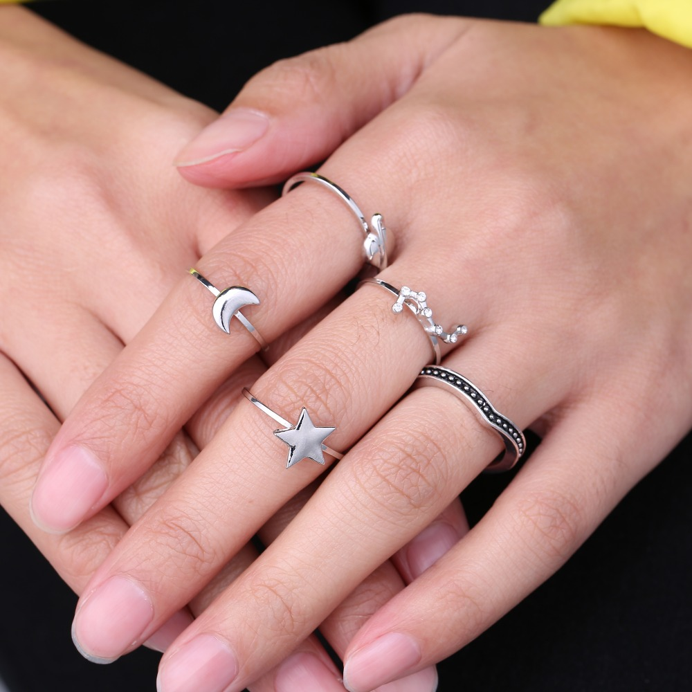 Simple Bohemian Style 5 pcs/set Vintage Anti Silver Color Rings star ...
