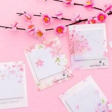 лучшая цена 1 pcs Fresh Cherry Sakura Natural Memo Pad Sticky Notes Shopping Check List Escolar Papelaria School Supply Label