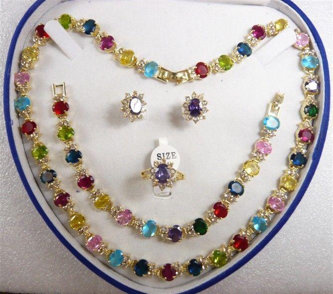 LIOP099 CV567 Горячей продажи женщин ювелирные изделия Многоцветный циркония желтого золота Серьги Браслет Ожерелье Кольцо
