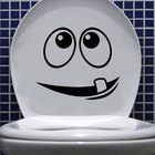 Cartoon Face Toilet Seat Vinyl Stickers Lovely Wall Stickers For Kids Rooms Black 4WS-0036
