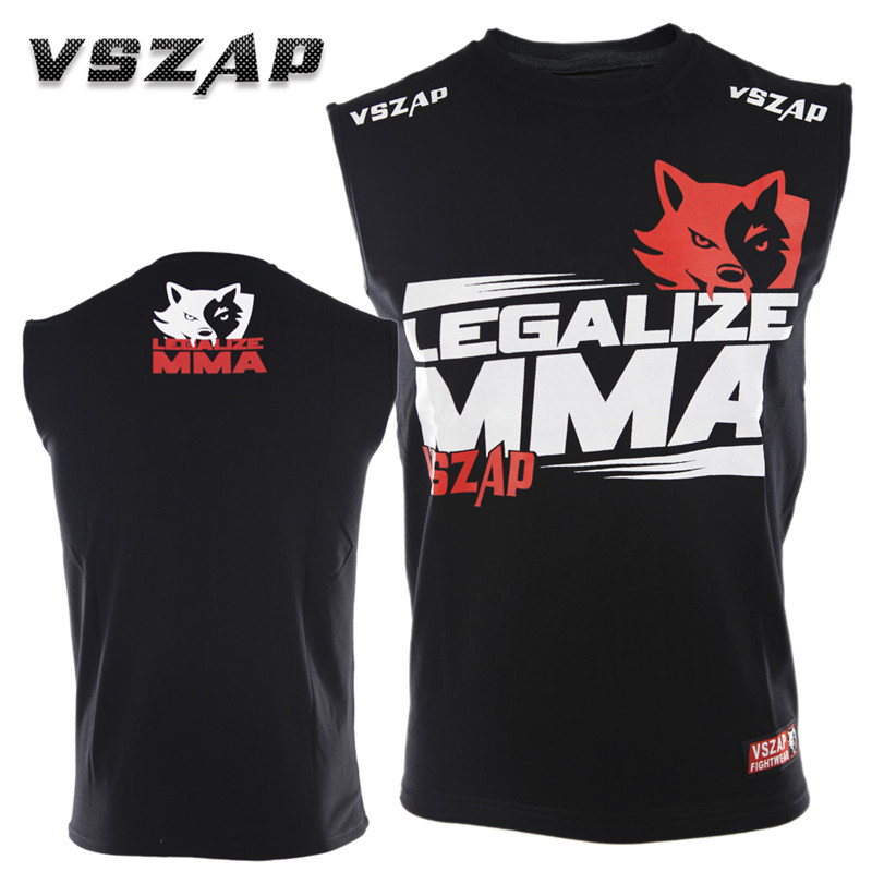 VSZAP Cotton Sleeveless MUAY THAI Jersey THAI Boxing Short Sleeve T-shirt For MMA Fitness Elastic Fighting Gym Fighting Shirts
