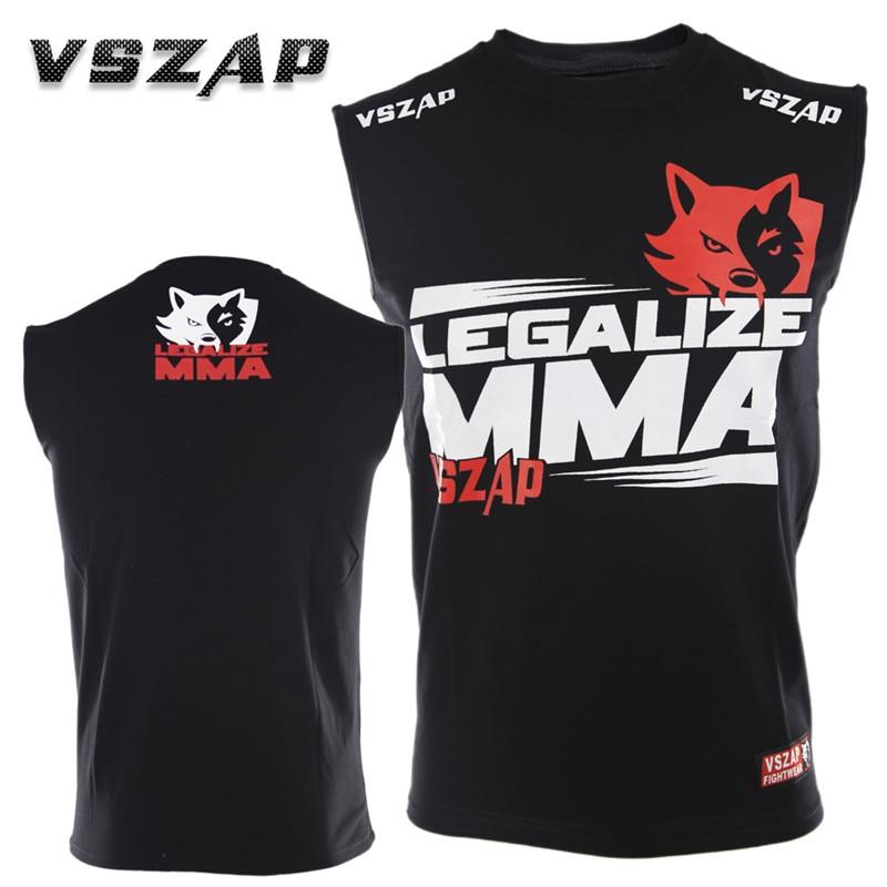VSZAP Cotton Sleeveless MUAY THAI Jersey THAI Boxing Short Sleeve T-shirt For MMA Fitness Elastic Fighting Gym Fighting Shirts