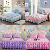 Bedspread Coverlet sets Pillowcases Hypoallergenic, Box Stitched Down Alternative Bed Skirt (King, Blue)