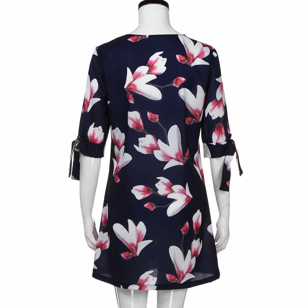נשים פרחוני הדפסת Bowknot שרוולים שמלת קוקטייל מיני שמלת יומי מזדמן מסיבת אישיות Slim שמלות Vestidos # BL5