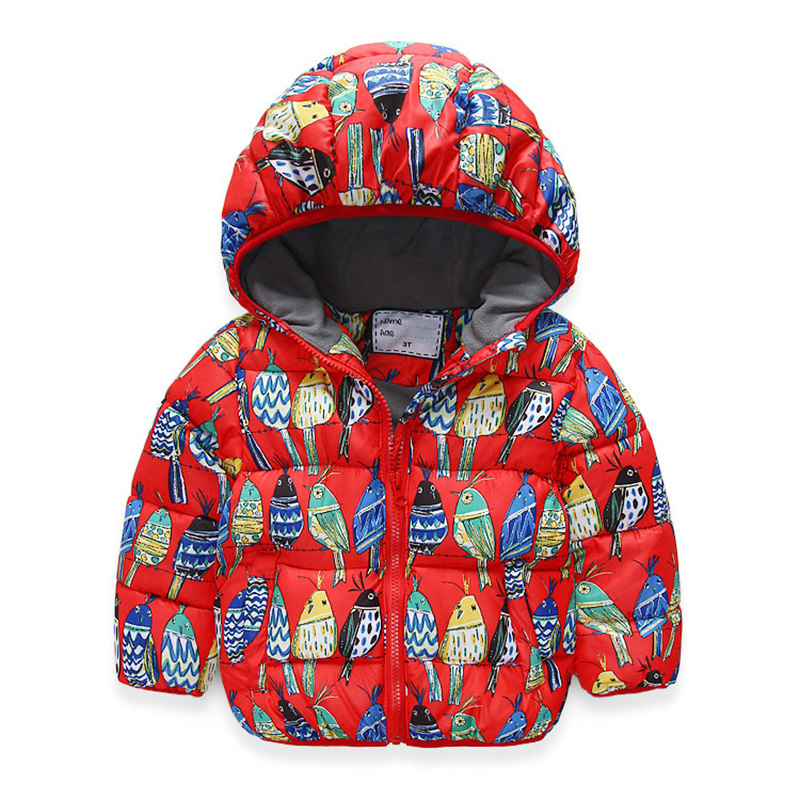 Winter Coat for Boys and Girls Children's Clothing Hooded Jacket Peace Birds Cotton Puffer Warm Coat Girl Clothing