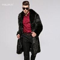 Fhillinuo 2017 плюс Размеры 3XL Мужской длинные пальто из искусственного меха Для мужчин модные осень зима поддельные норки Мех животных пальто дли