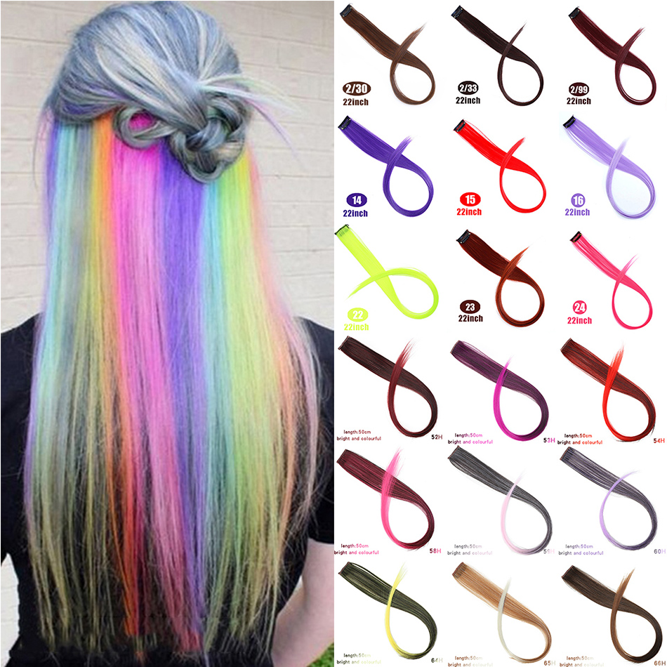 MUMUPI Long Straight Fake Colored Hair Extensions Clip In Highlight Rainbow Hair Streak Pink Synthetic Hair Strands On Clips