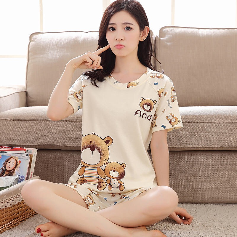 New Big Girl Pajamas Sets Summer Short Sleeve Thin Cartoon Print Cute Sleepwear Girl Pijamas Mujer Leisure Student Home