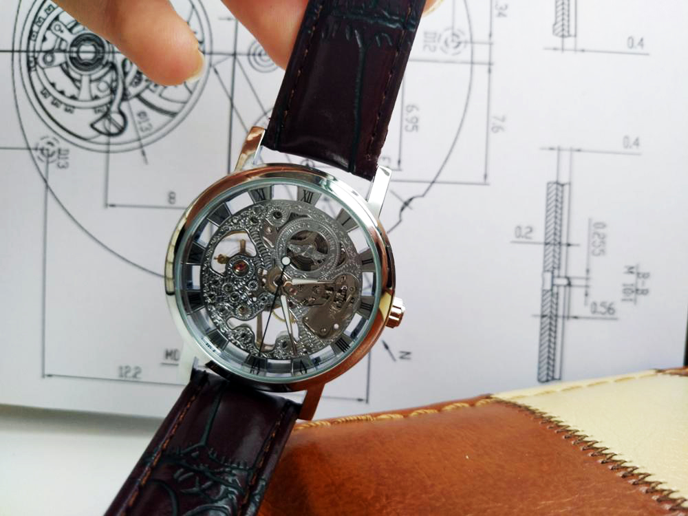HTB1FoPWcbuWBuNjSszgq6z8jVXaW Winner Transparent Golden Case Luxury Casual Design Brown Leather Strap Mens Watches Top Brand Luxury Mechanical Skeleton Watch