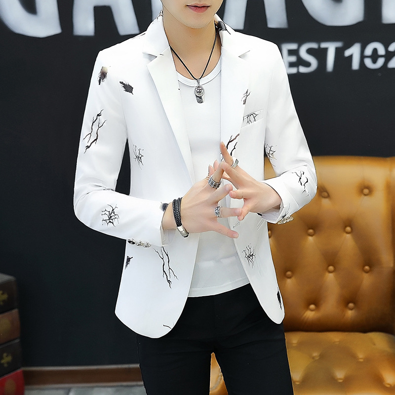 Male Printed A Blazer Of New  2019  Fashion Wash And Wear Thin Wash And Wear A Blazer Handsome City Boy Cultivate One's Morality