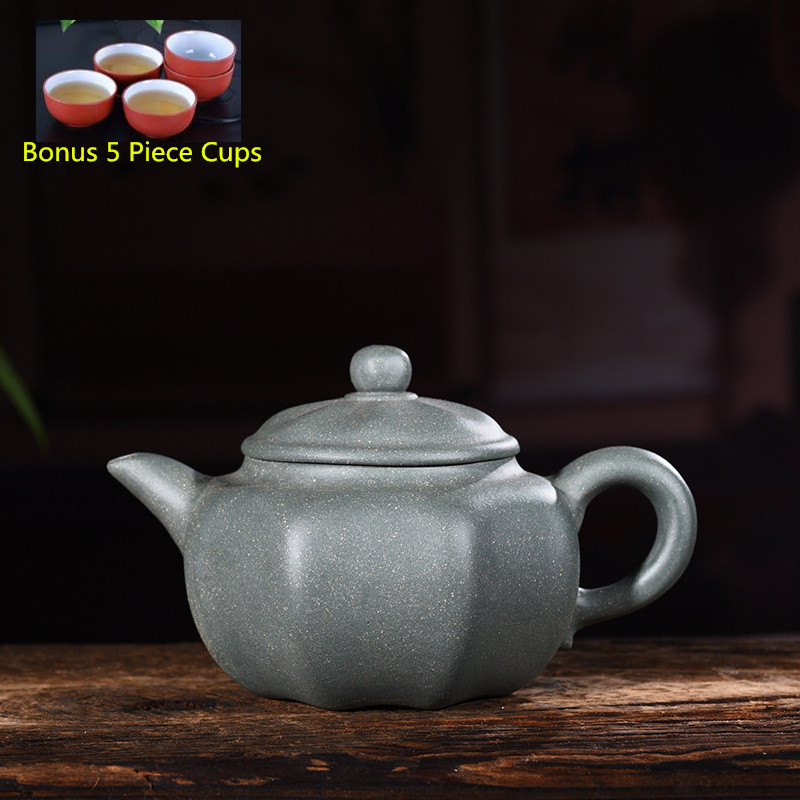 260ml Yixing Zisha Genuine Handmade Green Clay Octagonal Tea Pot Tea Kettle Kung Fu Teapot Tea Set Free Shipping260ml Yixing Zisha Genuine Handmade Green Clay Octagonal Tea Pot Tea Kettle Kung Fu Teapot Tea Set Free Shipping