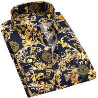 2017 Men Shirts Long Sleeve Spring Antumn Fashion Floral Printing Male Shirts Brand Clothing Casual Shirt