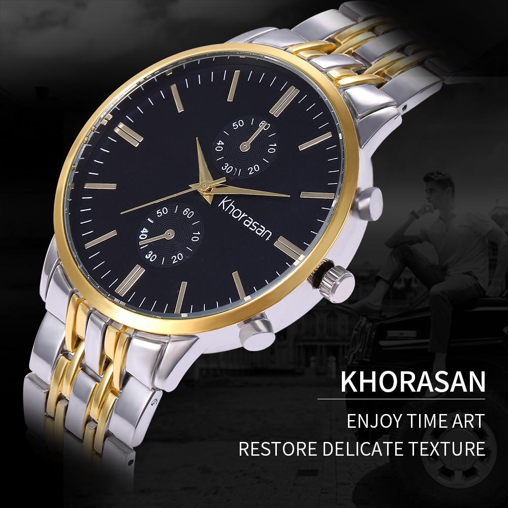 Fashion Khorasan Luxury Brand Wristwatch Men's Classic Gift Male Steel Strap Casual Quartz Watch Men Sports Wrist Montre Homme