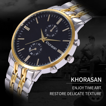Fashion Khorasan Luxury Brand Wristwatch Men's Classic Gift Male Steel Strap Casual Quartz Watch Men Sports Wrist Montre Homme guanqin brand luxury sports men wristwatches male leather strap business quartz watch casual clock hour date week montre homme