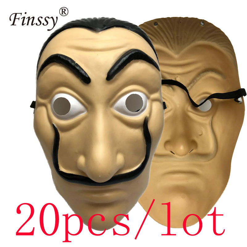 20pcs/lot Dali Plastic La Casa De Papel Cosplay Props Halloween Yacht Carnival  Dance Party Face Shield