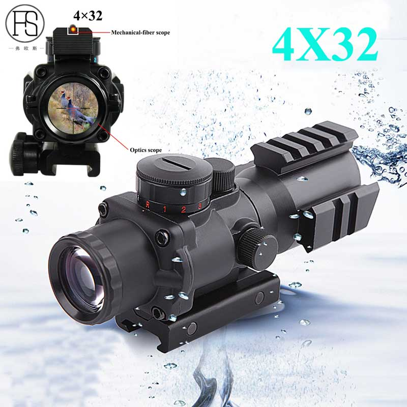 Hot Sale Tactical 4X32 Mini Optics Sniper Scope Compact Riflescopes Airsoft Sight Gun Rifle Shooting Hunting Scopes 20mm Rail 47 tactical hunting padded rifle sniper gun sling carrying case black