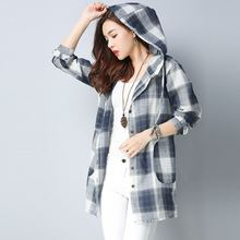 #3005 Plaid Hooded Shirt Women Long Sleeve Casual Cotton Linen Tunics Loose Elegant Blouse Female Korean Style