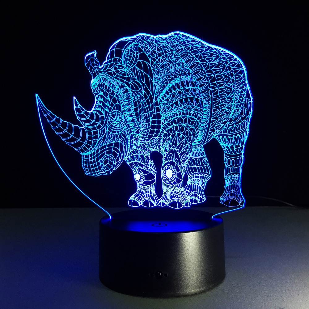 Table lamps gt battery led wireless lamp wireless usb by kartell - 7 Color 3d Lamp Rhinoceros Led Night Lights For Kids Touch Usb Table Lampara Lampe Baby
