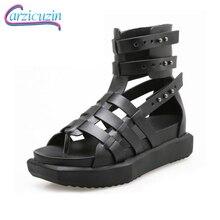 Купить с кэшбэком CarziCuzin Women Gladiator Real Genuine Leather Wedges Sandals Rivet Summer Vacation Beach Shoes Women Chic Footwear Size 35-40