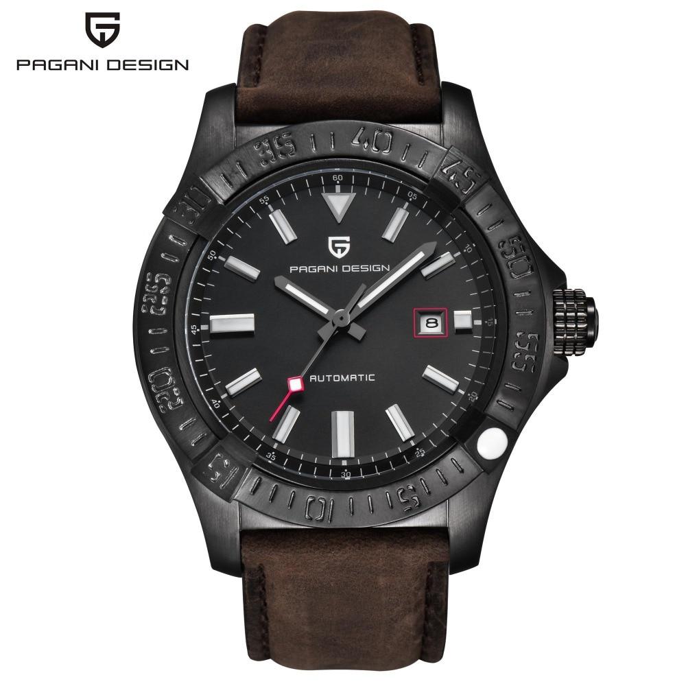 PAGANI DESIGN Fashion Leather Men Watch Automatic Self-Wind Mechanical Date Fashion Business Wristwatch Big Dial Watch PD-1627M
