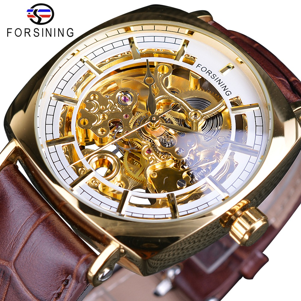 Forsining Golden Luxury Brown Leather Belt Mens Mechanical Skeleton Wrist Watch Top Brand Luxury Square Case Male Creative ClockForsining Golden Luxury Brown Leather Belt Mens Mechanical Skeleton Wrist Watch Top Brand Luxury Square Case Male Creative Clock