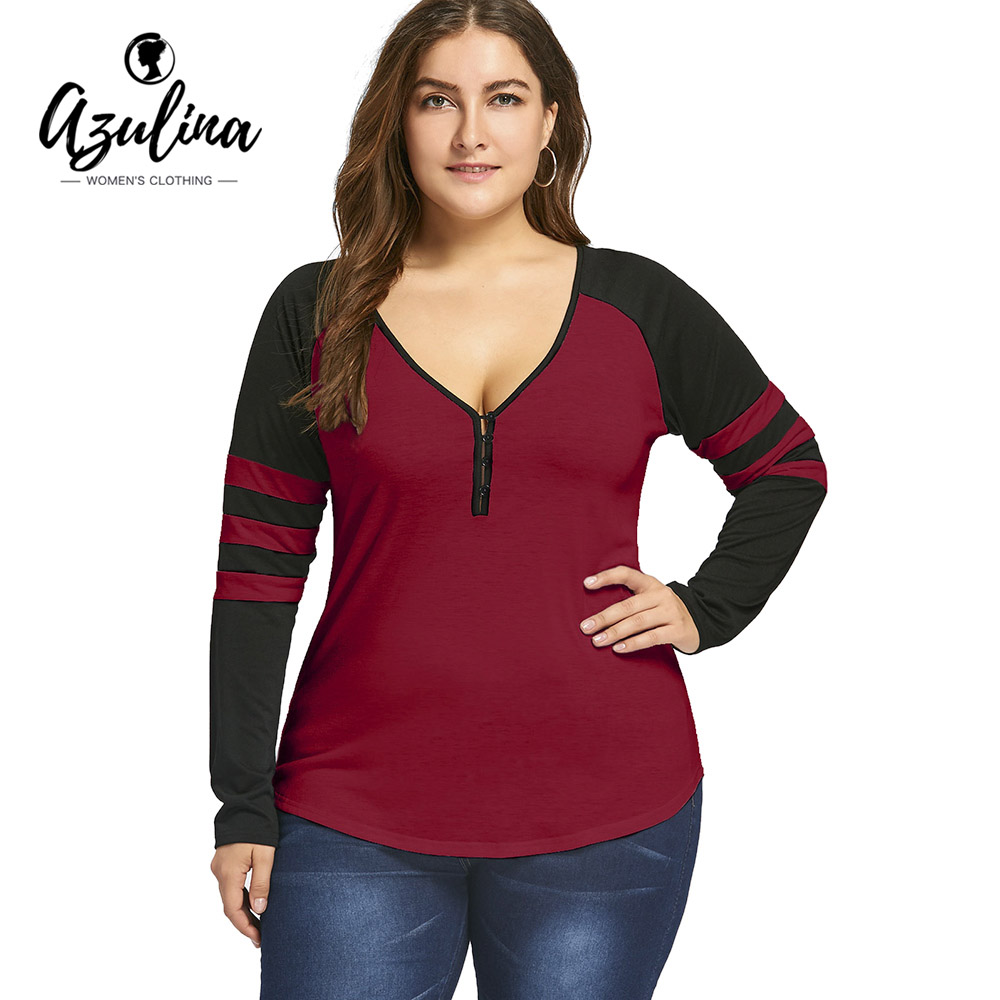 AZULINA Plus La Taille Deux Tone Rayures Boutons T-Shirt Femmes Long manches Casual Sexy V Cou Manches Raglan Coton Dames Tops XL-5XL