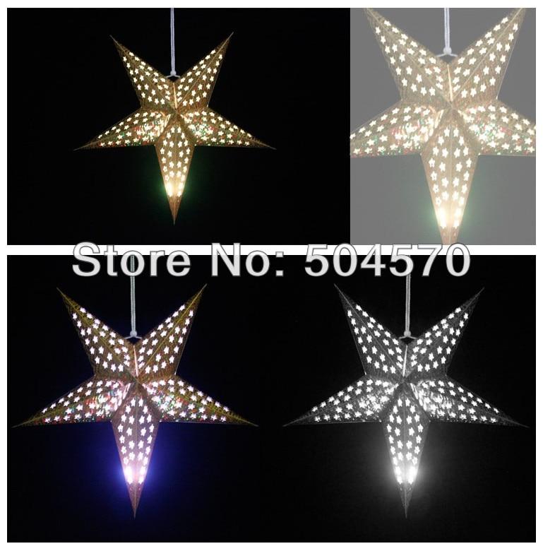 4pcs / Lot 30-60cm LED Star Handle Lanterns Lamp Laser Paper Glow - Varer til ferie og fester - Foto 3