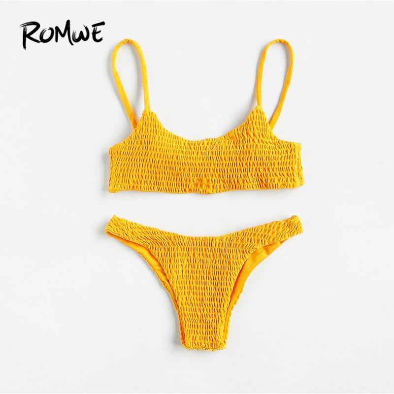 692af4a8571 Romwe Sport Push Up Shirred Bikini Set Yellow Women Swimming Solid Korean Bathing  Suit Swimwear 2018 Sexy Two Piece Bikini Sets