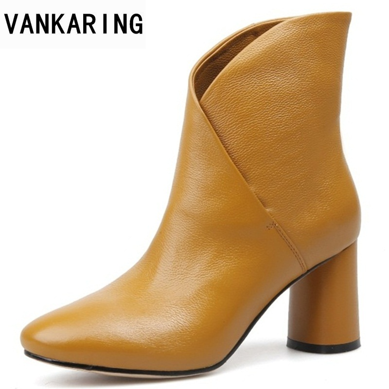 цены VANKARING spring autumn fashion genuine leather ankle boots 2018 new woman square high heels shoes woman black boots women shoes