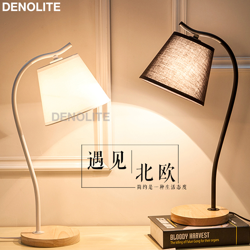 Denolite white black iron table lamp for bedroom living - Black table lamps for living room ...