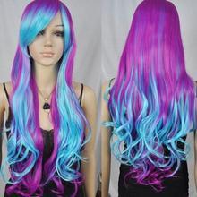 Парик женский синий фиолетовый смешанные длинные волнистые косплей костюм вечерние термостойкий парик