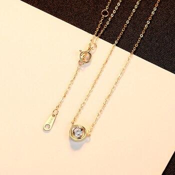 14k Gold Round Pendant Necklace with Zircon 5