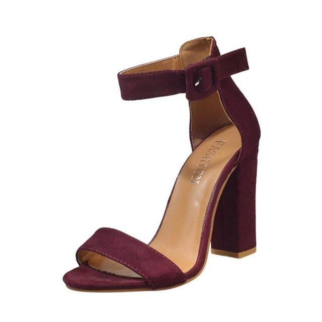 Altos Sandalias Mujer Tacones Zapatos Singel Tobillo A082230 Bloque Hebilla Partido Correa Señoras Moda CxBQWdoerE