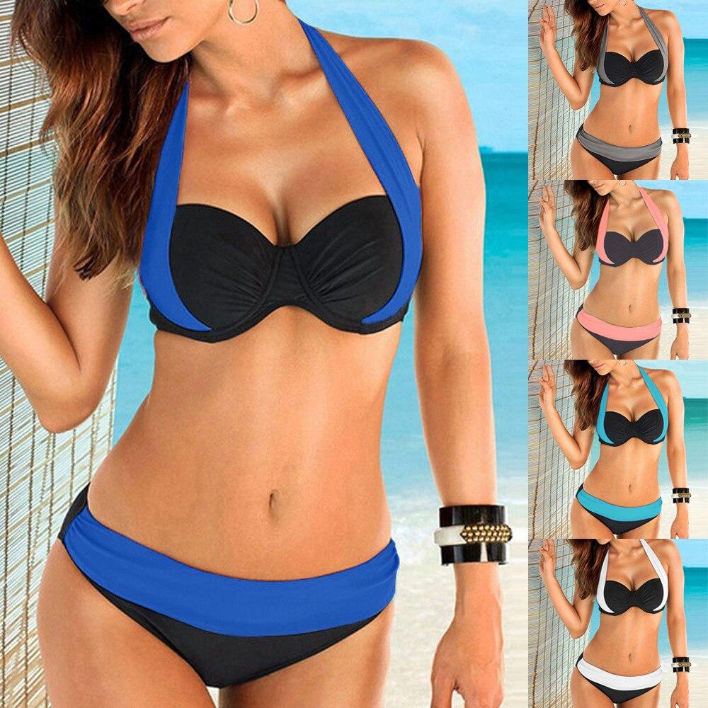 5 Colors Swimsuit Women 2018 Women Push up Padded Bra Bandeau Low Waist Bikini Swimwear Swimsuit Plus Size bikini 2018 Sexy 15 цена 2017