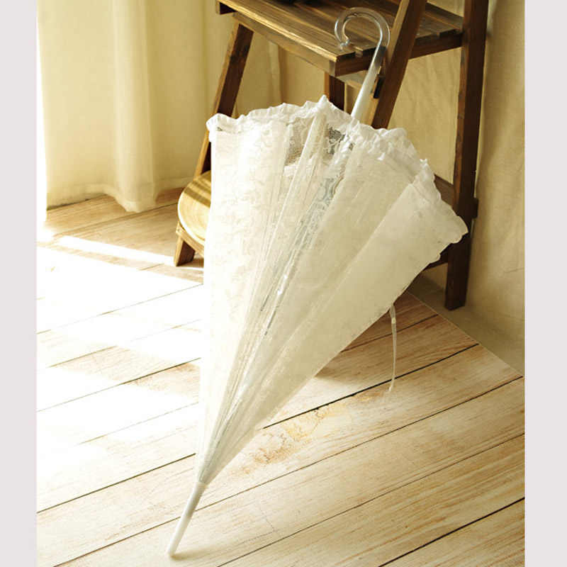 White Lace Sun Rain Umbrella For Wedding Handmade Bridesmaid  Long Handle Decoration Umbrellas Lolita Fashion Christmas Gift