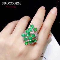 Натуральный Романтический изумрудные кольца для женщин Свадебные подарки 3x4 мм Натуральная драгоценные камни ювелирные украшения кольца и