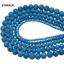 New Blue Synthesis Turquoises Stone Round Loose Beads For Jewelry Making DIY