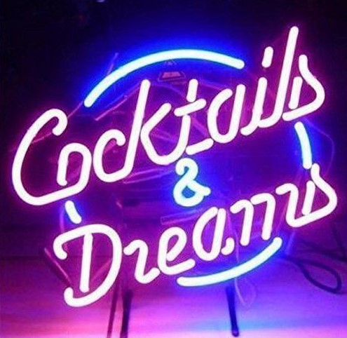 Custom Cocktails And Dreams Glass Neon Light Sign Beer Bar