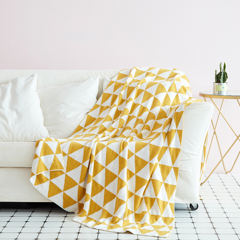90X110cm 2 Layers Winter Thick Cotton Knitted Yellow Triangle Soft Baby Blanket Kids Back Seat Cover Baby Bed Spread Quilt Cover