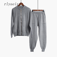 RLYAEIZ 2017 Autumn Brand New 2 Piece Set Women Sporting Suits Knitting Cardigan + Pockets Pants Sporting Wear Female Tracksuit