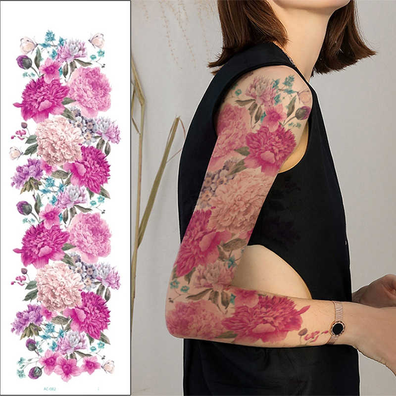 Big Arm Temporary Tattoo Sticker Colorful Peony rose flowers Fake Tattoo Sleeves Flash Tatto Waterproof Body/leg Art paint Women