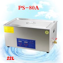 1PC AC110V/220V 40KHz 600W PS-80A Digital heater&timer Ultrasonic Cleaner 22L for electronic components with free basket