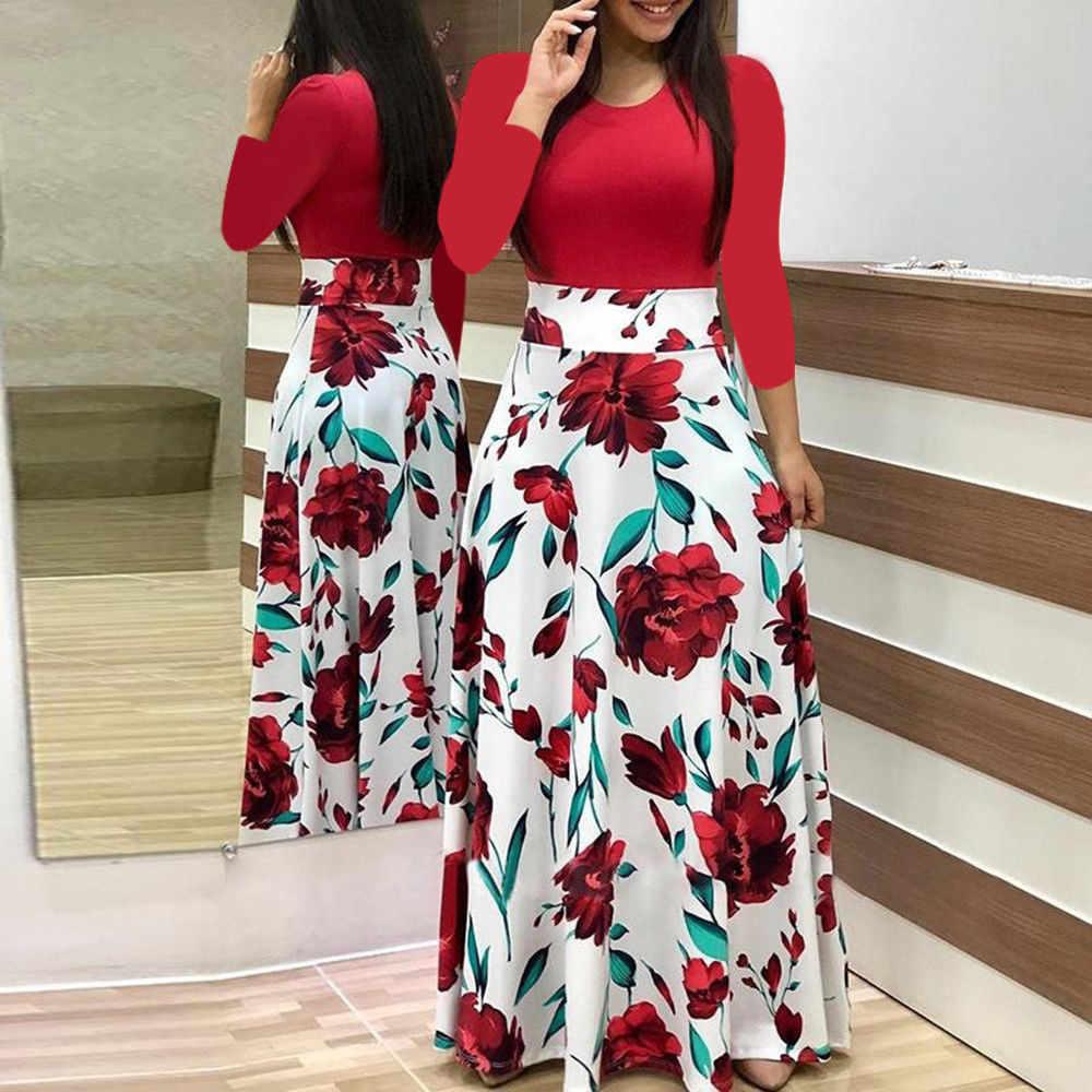 2019 Fashion Vrouwen jurk Lange Mouwen Bloemen dot patchwork Elegante VintageMaxi Jurk Dames zomer Casual kleding vestido bloemen