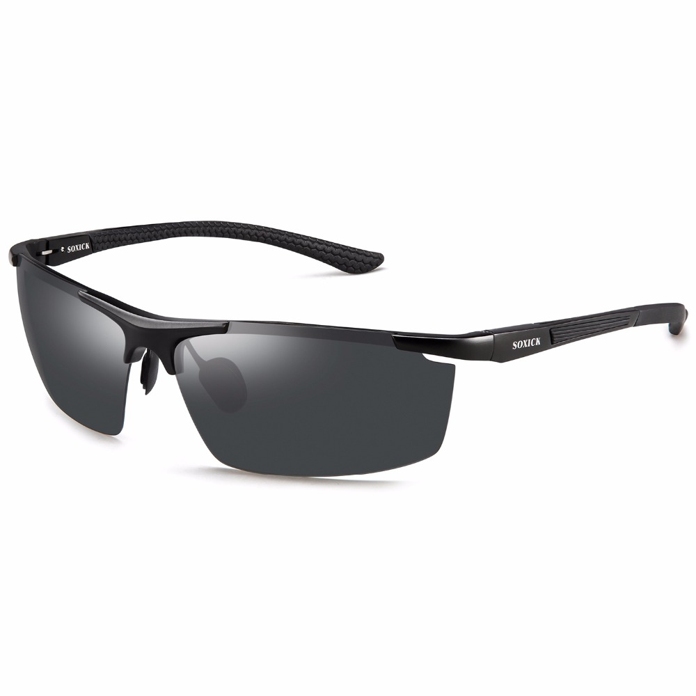 SOXICK Polarized Mens Womens Sunglasses,UV400 Metal Fashion Driving Sports Black