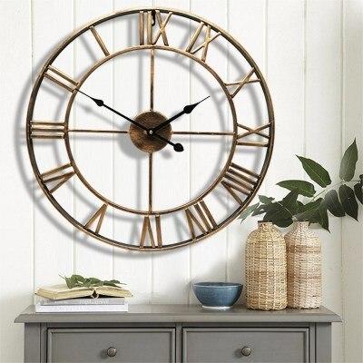 North Europe Brief Creative Wall clock Roman numerals retro Iron Watches  Antique Klok Hot selling Home Decoration Wall clocks