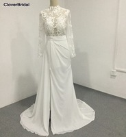 Slim Modern Sweep Train Illusion Long Sleeves High Neck Bridal Wedding Dress Sexy High Front Slit