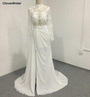 Slim Modern Sweep Train Illusion Long Sleeves High Neck Bridal Wedding Dress Sexy High Front Slit